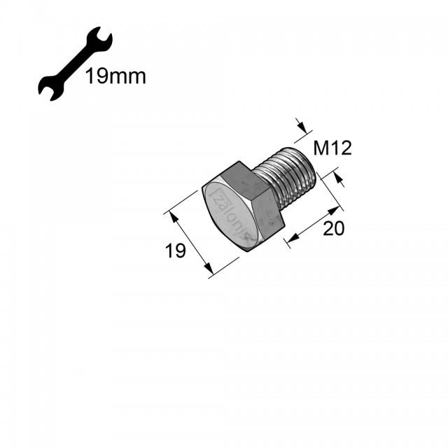 HEXAGON HEAD STEEL BOLT M12x20